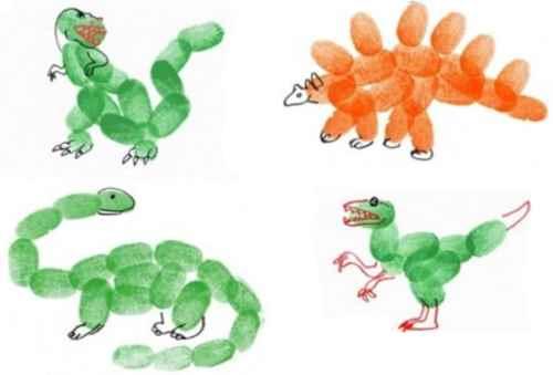 Динозавры. Пальчиковое рисование