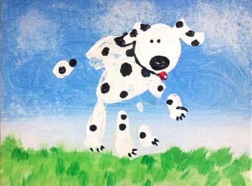 Рисунок собаки ладонью